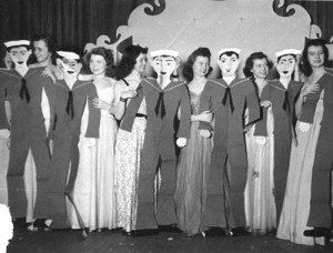 "Female cast members in Gracie Peterson's 1944 musical ""Girl of the Year"" had to make do with cardboard cutouts as dancing partners."