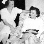 Mary Fernald '42 (right) lost both her hands in an accidental explosion at the ordnance plant where she worked.